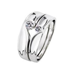 Sterling silver Cubic Zirconia Hjärta Round Cut Parets ringar - Alla Hjärtans Gåvor