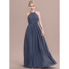 A-Line/Princess Scoop Neck Floor-Length Chiffon Bridesmaid Dress With Ruffle (007116652)