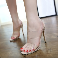 Women's PVC Stiletto Heel Sandals Pumps Peep Toe Slingbacks With Others shoes