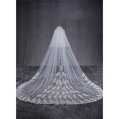 One-tier Lace Applique Edge Cathedral Bridal Veils With Applique (006122665)