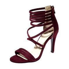 Kvinnor Mocka Stilettklack Sandaler Pumps Peep Toe med Zipper skor