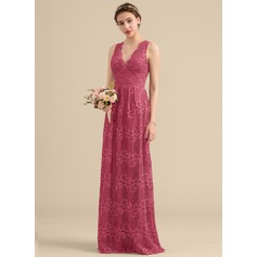 A-Line/Princess V-neck Floor-Length Lace Bridesmaid Dress (007153326)