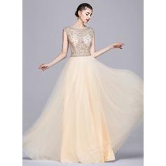 Vestidos princesa/ Formato A Decote redondo Longos Tule Vestido de festa com Beading lantejoulas