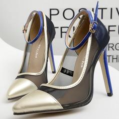 Frauen Kunstleder Stöckel Absatz Absatzschuhe Geschlossene Zehe mit Schnalle Zweiteiliger Stoff Schuhe