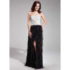 Sheath/Column Sweetheart Floor-Length Satin Feather Prom Dress With Beading Split Front
