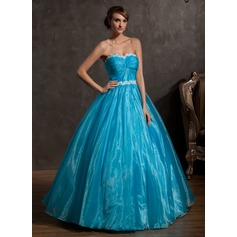 Ball-Gown Sweetheart Floor-Length Organza Quinceanera Dress With Ruffle Appliques Lace