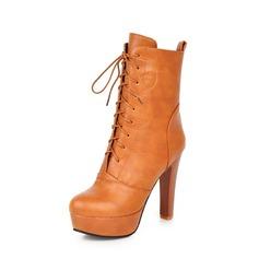 Femmes PU Talon stiletto Escarpins Plateforme Bottes Bottes mi-mollets avec Dentelle chaussures