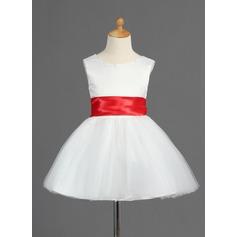 Forme Princesse Court/Mini Robes à Fleurs pour Filles - Satiné/Tulle Sans manches Col rond avec Ceintures/À ruban(s)