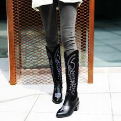 Frauen Kunstleder Stämmiger Absatz Kniehocher Stiefel Schuhe