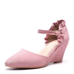 Donna Camoscio Zeppe Sandalo Zeppe con Increspato scarpe