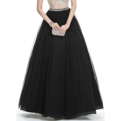 Ball-Gown Floor-Length Tulle Prom Dress With Beading