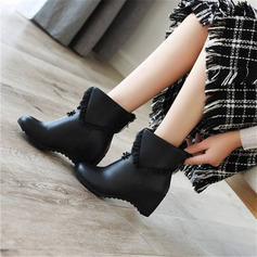 Women's PU Wedge Heel Ankle Boots With Ruched shoes