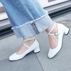 Femmes Similicuir Talon plat Chaussures plates Bout fermé avec Strass Boucle chaussures