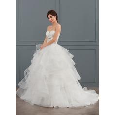 De baile Amada Cauda de sereia Tule Vestido de noiva com Beading