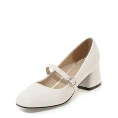 Kvinner Lær Stor Hæl Lukket Tå Mary Jane med Spenne sko