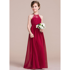A-Line/Princess Floor-length Flower Girl Dress - Chiffon/Lace Sleeveless Scoop Neck (010113801)