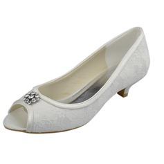 Kadın Dantel Sivri Topuk Peep Toe Sandalet Ile Yapay elmas