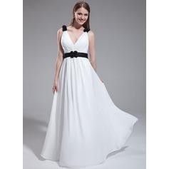 A-Line/Princess V-neck Floor-Length Chiffon Bridesmaid Dress With Ruffle Sash Flower(s)