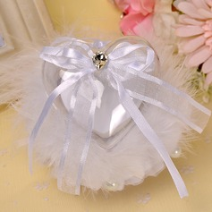 Chic Ring Pillow in feather With Ribbons/Rhinestones
