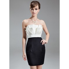 Sheath/Column Scalloped Neck Short/Mini Satin Cocktail Dress With Ruffle