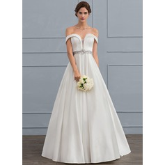 Ball-Gown Off-the-Shoulder Floor-Length Satin Wedding Dress With Beading Sequins Cascading Ruffles