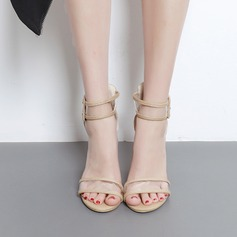 Women's Suede Chunky Heel Sandals Pumps Peep Toe shoes