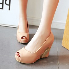 Vrouwen Kunstleer Wedge Heel Pumps Wedges met Juwelen Hak schoenen