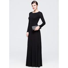 Vestidos princesa/ Formato A Decote redondo Longos Jersey Vestido de festa com Pregueado