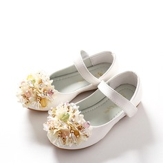 Girl's Leatherette Flat Heel Round Toe Closed Toe Mary Jane Flats With Rhinestone Velcro Flower Crystal