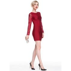 Tubo Decote redondo Curto/Mini Renda Jersey Vestido de cocktail