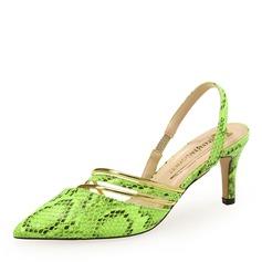 Mulheres PU Salto agulha Bombas Fechados com Faixa Elástica sapatos