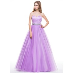 Ball-Gown Sweetheart Floor-Length Tulle Lace Prom Dress With Beading Sequins (018056811)