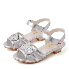 Girl's Peep Toe Leatherette Flat Heel Sandals Flats Flower Girl Shoes With Velcro Pearl