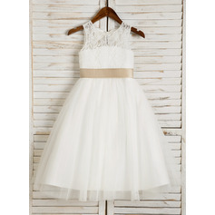 A-Line/Princess Tea-length Flower Girl Dress - Tulle/Lace Sleeveless Scoop Neck With Sash/Bow(s)/Back Hole (010091709)