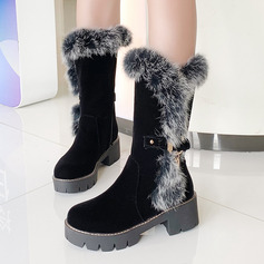 Frauen Veloursleder Stämmiger Absatz Stiefel-Wadenlang Schneestiefel mit Schnalle Reißverschluss Schuhe