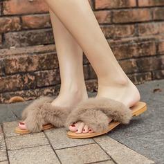 Femmes Suède Talon plat Chaussures plates Chaussons avec Fourrure chaussures