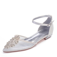 Women's Mesh Flat Heel Closed Toe Flats With Crystal