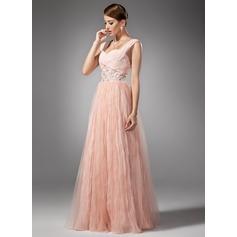 A-Line/Princess Sweetheart Floor-Length Chiffon Prom Dress With Beading Pleated