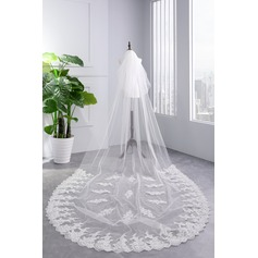 Two-tier Lace Applique Edge Cathedral Bridal Veils With Lace (006141335)