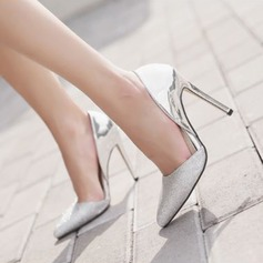 Women's Patent Leather Sparkling Glitter Stiletto Heel Pumps Closed Toe With Split Joint shoes