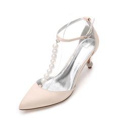 Женщины шелка как атласное Высокий тонкий каблук На каблуках Сандалии с пряжка Имитация Перл