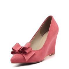 Vrouwen Suede Wedge Heel Closed Toe Wedges met strik schoenen