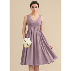 Empire V-neck Knee-Length Chiffon Cocktail Dress With Cascading Ruffles