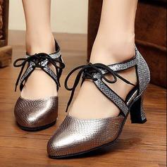 Femmes Similicuir Escarpins Salle de bal avec Dentelle Chaussures de danse