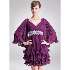 Трапеция/Принцесса V-образный Мини-платье шифон Платье для Отдыха с развальцовка блестки Плиссированный