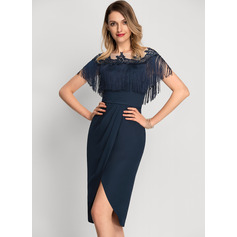 Sheath/Column Scoop Neck Asymmetrical Chiffon Cocktail Dress With Lace Beading (016212869)
