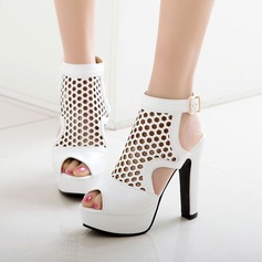 Women's PU Chunky Heel Sandals Pumps Platform Peep Toe Slingbacks With Hollow-out shoes