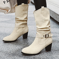 Women's PU Chunky Heel Mid-Calf Boots With Buckle Ruffles shoes