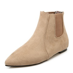 Women's Suede Flat Heel Boots Ankle Boots With Elastic Band shoes
