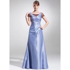 Forme Princesse Encolure carrée Longueur ras du sol Taffeta Dentelle Robe de mère de la mariée avec Plissé